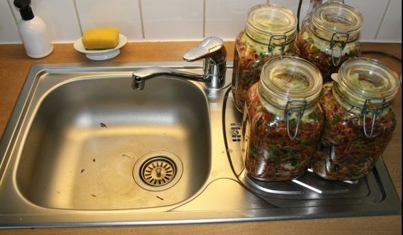 jars on kitchen sink