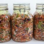Jars filled with vegetables