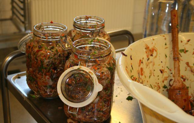 Vegetables packed in jars